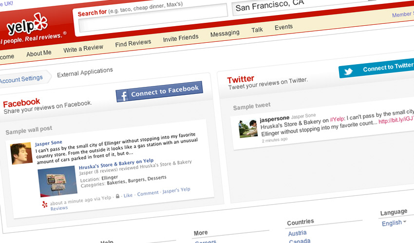 Yelp Profile Page - Social Applications